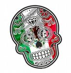 Mexican Day Of The Dead SUGAR SKULL With Mexico Mexican Flag Motif External Vinyl Car Sticker 120x90mm